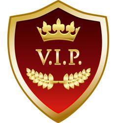 vip gold shield vector image