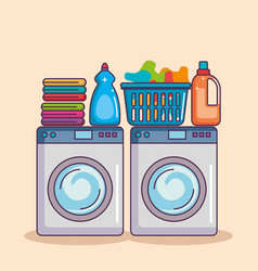 washing machine with washing powder and clean vector image