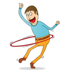 Man with hula hoop vector