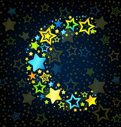 Letter c cartoon star colored vector