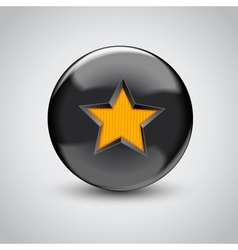 3d black sphere with star symbol vector image vector image