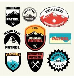 Set of ski patrol mountain badges and logo patches vector