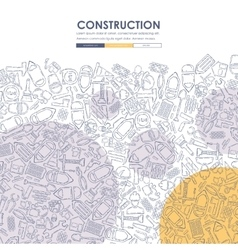 Construction doodle website template design vector