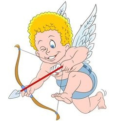 Cute cartoon cupid vector