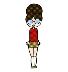 Comic cartoon librarian woman vector