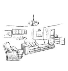 Hand drawn room interior sketch vector