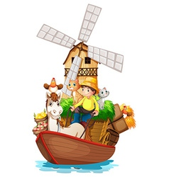 A boat with farm animals and farm fruits vector