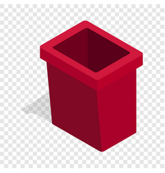 Burgundy trash bin isometric icon vector