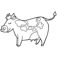 Cartoon cute cattle or cow coloring page vector