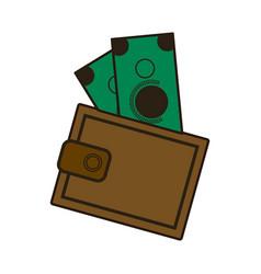 Cartoon wallet with money cash image vector