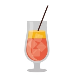 Cocktail popular alcohol drink straw and ice vector