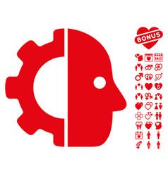 Cyborg icon with valentine bonus vector
