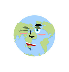 Earth winking emoji planet merry emotion isolated vector
