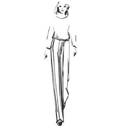 fashion models sketch cartoon girl vector image vector image