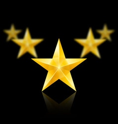 Five gold stars in the shape of wedge on black vector