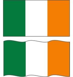 Flat and waving Irish Flag vector image