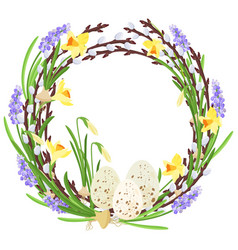 floral wreath with spring flowers botanical vector image vector image