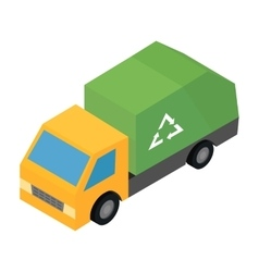Garbage truck isometric 3d icon vector