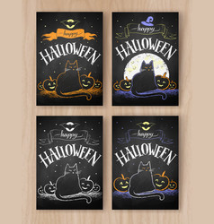 halloween color chalked postcards designs vector image vector image