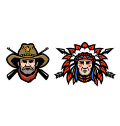 head of cowboy and indian vector image
