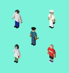 Isometric person set of male doctor officer and vector