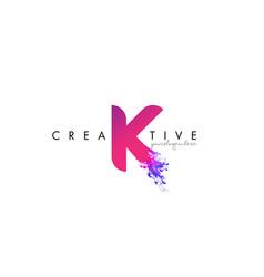 k letter logo design with ink cloud flowing vector image vector image