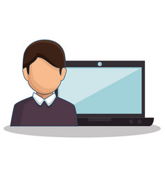 Laptop computer with user isolated icon vector