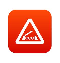 lifting bridge warning sign icon digital red vector image