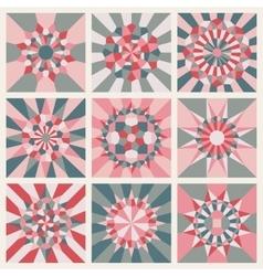 Nine symmetrical mandala ornament pattern vector
