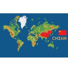 Pixel art style world map with shape china borders vector