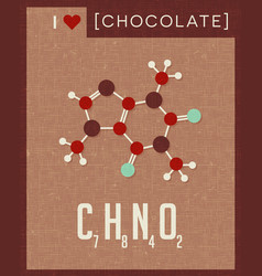 Retro poster of chocolate molecule vector