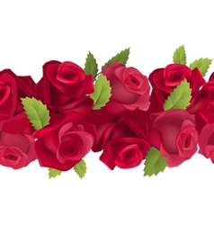 Seamless horizontal border with red roses vector