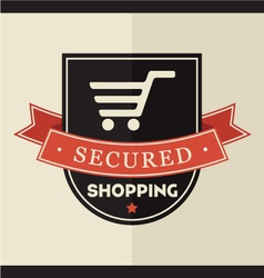 Secured shopping badge vector