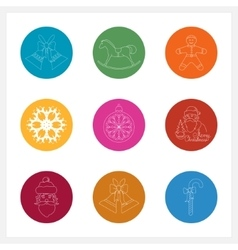Set of colorful round linear icons vector