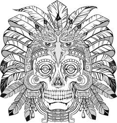 Skull of native american vector