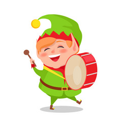 Smiling happy elf playing drum musical instrument vector