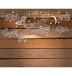 Steampunk whale in night sky with stars and moon vector image