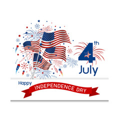 usa 4 july independence day design on white backgr vector image vector image