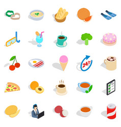 Variety of dessert icons set isometric style vector