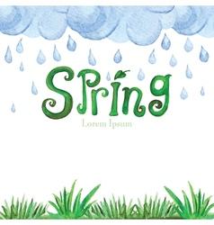 Watercolor Spring BackgroundGreen grassword vector image vector image