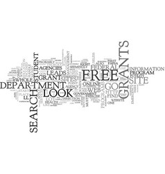 Where to search for free grants text word cloud vector