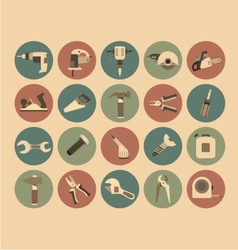 Working Tools Flat Icon Set vector image