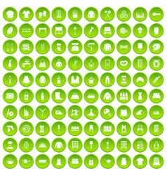 100 needlework icons set green circle vector