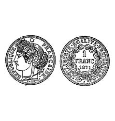 Silver franc vintage engraving vector
