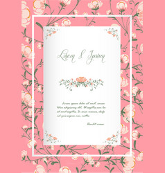Flowers poster template pink blossoms vintage vector