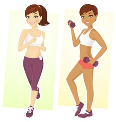 Set of sport girls vector