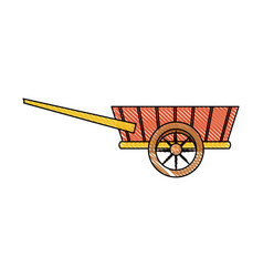 Drawing wheelbarrow wooden trasnport element vector