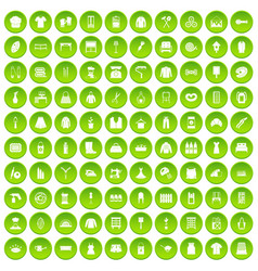 100 needlework icons set green circle vector