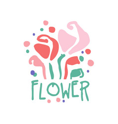 Flower logo template colorful hand drawn vector