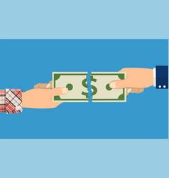 Businessman hands tearing money banknote vector